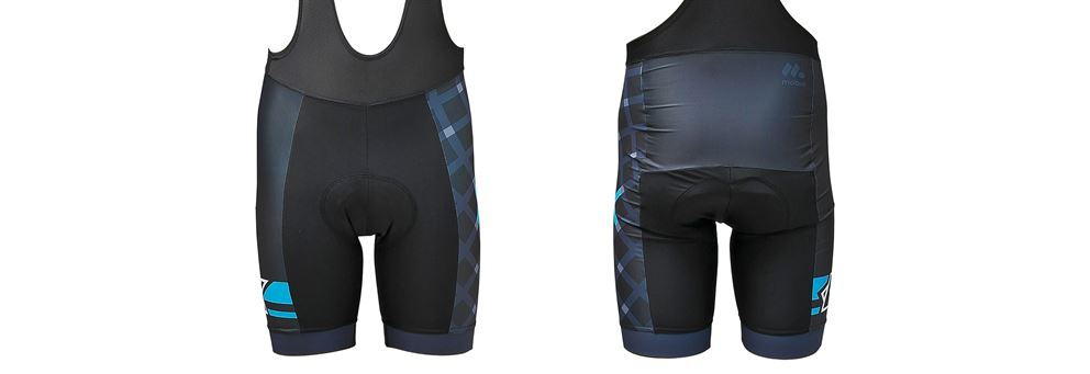 Grey and Cyan race bib shorts