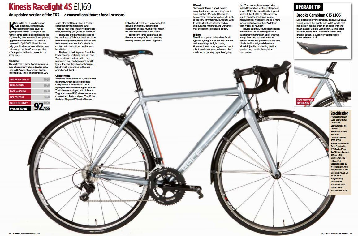 Kinesis 4S Scores 92% in Cycling Active Review! - Kinesis Bikes
